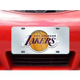 "Click here to learn more about the Los Angeles Lakers License Plate Inlaid 6""x12""."