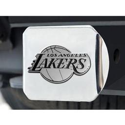 "Click here to learn more about the Los Angeles Lakers Hitch Cover 4 1/2""x3 3/8""."