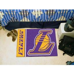 "Click here to learn more about the Los Angeles Lakers Uniform Inspired Starter Rug 19""x30""."
