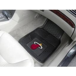 "Click here to learn more about the Miami Heat Heavy Duty 2-Piece Vinyl Car Mats 17""x27""."