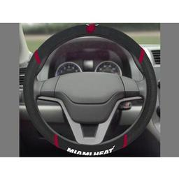 "Click here to learn more about the Miami Heat Steering Wheel Cover 15""x15""."