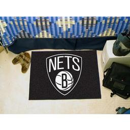 "Click here to learn more about the Brooklyn Nets Starter Rug 19"" x 30""."