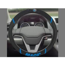 "Click here to learn more about the Orlando Magic Steering Wheel Cover 15""x15""."