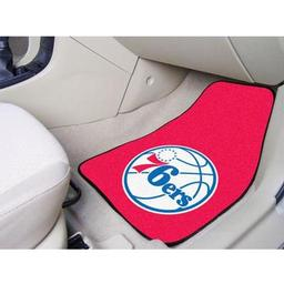 "Click here to learn more about the Philadelphia 76ers 2-piece Carpeted Car Mats 17""x27""."