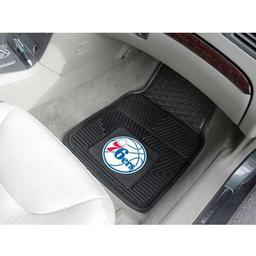 "Click here to learn more about the Philadelphia 76ers Heavy Duty 2-Piece Vinyl Car Mats 17""x27""."