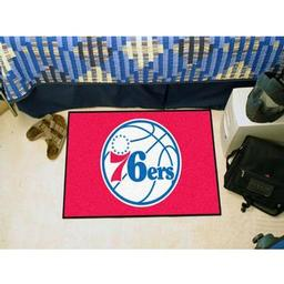 "Click here to learn more about the Philadelphia 76ers Starter Rug 19"" x 30""."