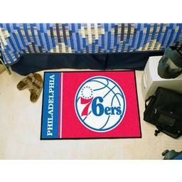 "Click here to learn more about the Philadelphia 76ers Uniform Inspired Starter Rug 19""x30""."