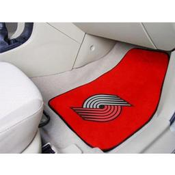 "Click here to learn more about the Portland Trail Blazers 2-piece Carpeted Car Mats 17""x27""."