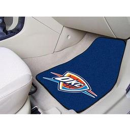 "Click here to learn more about the Oklahoma City Thunder 2-piece Carpeted Car Mats 17""x27""."
