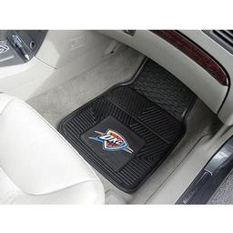 "Click here to learn more about the Oklahoma City Thunder Heavy Duty 2-Piece Vinyl Car Mats 17""x27""."