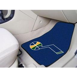 "Click here to learn more about the Utah Jazz 2-piece Carpeted Car Mats 17""x27""."