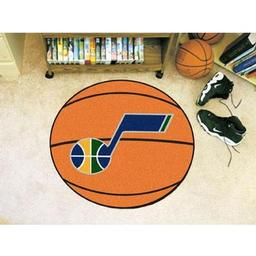"Click here to learn more about the Utah Jazz Basketball Mat 27"" diameter."