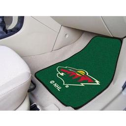 "Click here to learn more about the Minnesota Wild 2-pc Printed Carpet Car Mats 17""x27""."