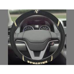 "Click here to learn more about the Pittsburgh Penguins Steering Wheel Cover 15""x15""."