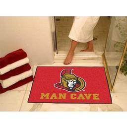 "Click here to learn more about the Ottawa Senators Man Cave All-Star Mat 33.75""x42.5""."