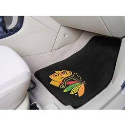 "Click here to learn more about the Chicago Blackhawks 2-pc Printed Carpet Car Mats 17""x27""."