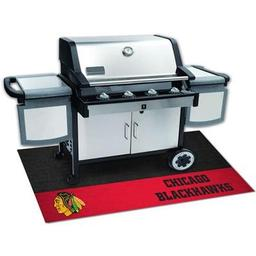 "Click here to learn more about the Chicago Blackhawks Grill Mat 26""x42""."