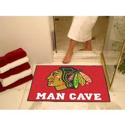"Click here to learn more about the Chicago Blackhawks Man Cave All-Star Mat 33.75""x42.5""."