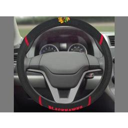 "Click here to learn more about the Chicago Blackhawks Steering Wheel Cover 15""x15""."