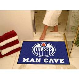 "Click here to learn more about the Edmonton Oilers Man Cave All-Star Mat 33.75""x42.5""."