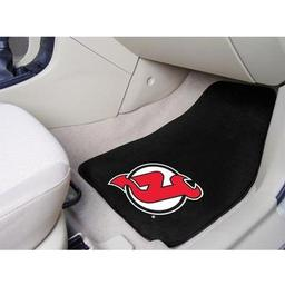 "Click here to learn more about the New Jersey Devils 2-pc Printed Carpet Car Mats 17""x27""."