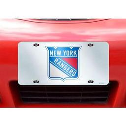 "Click here to learn more about the New York Rangers License Plate Inlaid 6""x12""."