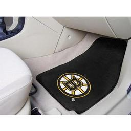 "Click here to learn more about the Boston Bruins 2-pc Printed Carpet Car Mats 17""x27""."