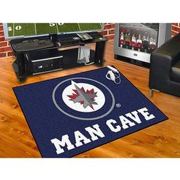 "Click here to learn more about the Winnipeg Jets Man Cave All-Star Mat 33.75""x42.5""."