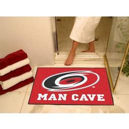 "Click here to learn more about the Carolina Hurricanes Man Cave All-Star Mat 33.75""x42.5""."