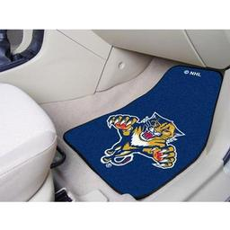 "Click here to learn more about the Florida Panthers 2-pc Printed Carpet Car Mats 17""x27""."