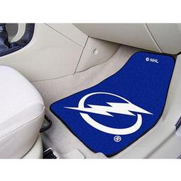 "Click here to learn more about the Tampa Bay Lightning 2-pc Printed Carpet Car Mats 17""x27""."