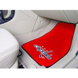 "Click here to learn more about the Washington Capitals 2-pc Printed Carpet Car Mats 17""x27""."