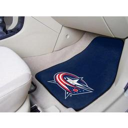 "Click here to learn more about the Columbus Blue Jackets 2-pc Printed Carpet Car Mats 17""x27""."