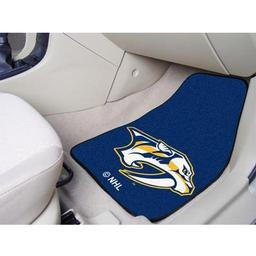 "Click here to learn more about the Nashville Predators 2-pc Printed Carpet Car Mats 17""x27""."