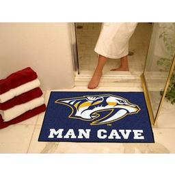 "Click here to learn more about the Nashville Predators Man Cave All-Star Mat 33.75""x42.5""."