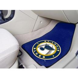 "Click here to learn more about the St. Louis Blues 2-pc Printed Carpet Car Mats 17""x27""."