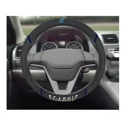 "Click here to learn more about the St. Louis Blues Steering Wheel Cover 15""x15""."