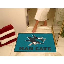 "Click here to learn more about the San Jose Sharks Man Cave All-Star Mat 33.75""x42.5""."
