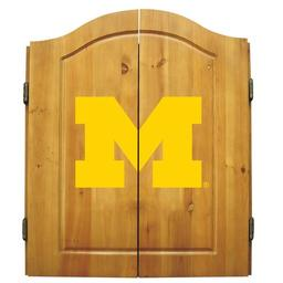 Click here to learn more about the University of Michigan NCAA Dart Cabinet With Darts and Dartboard.