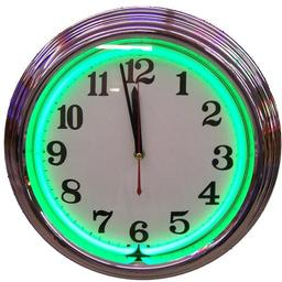 Click here to learn more about the Chrome Green Standard Neon Clock.