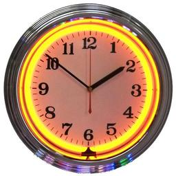Click here to learn more about the Chrome Orange Standard Neon Clock.