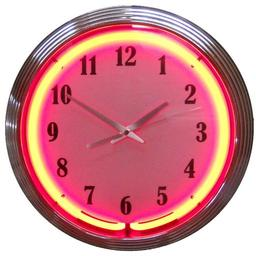Click here to learn more about the Chrome Red Standard Neon Clock.